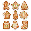 Set Of Gingerbread Christmas Cookies Decorated Icing. Royalty Free Stock Image - 68567126