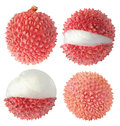 Collection Of Isolated Whole And Cut Lychee Fruits Stock Images - 68567804