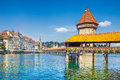 Historic Town Of Lucerne With Famous Chapel Bridge, Switzerland Stock Photography - 68572782