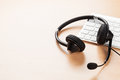 Office Desk With Headset. Call Center Support Stock Photography - 68575272