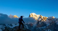 Mountain Climber On Summit Stock Images - 68584154