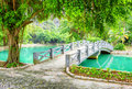 Bridge Over Canal With Azure Water In Tropical Garden, Vietnam Royalty Free Stock Photos - 68585268