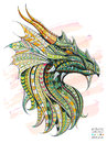 Patterned Head Of The Dragon Royalty Free Stock Images - 68585619