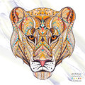 Patterned Head Of The Lioness Royalty Free Stock Photography - 68585787