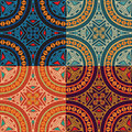 Set Collection Of Four Same Colorful Ethnic Seamless Patterns. Stock Photo - 68586170