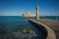 Place In The Port Of Rhodes, Where Stood The Colossus Of Rhodes Stock Photo - 68586890