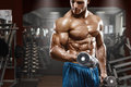 Muscular Man Working Out In Gym Doing Exercises With Dumbbells At Biceps, Strong Male Naked Torso Abs Royalty Free Stock Photo - 68589845