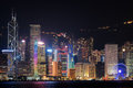 Night View Of Hong Kong Island Skyline. Skyscrapers In Downtown Stock Photo - 68601820