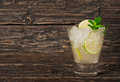 Cocktail With White Rum Or Gin With Ice, Lime, Mint Stock Photo - 68605500
