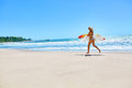 Summertime. Surfing. Summer Sport. Woman With Surfboard Running Royalty Free Stock Photo - 68619065