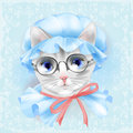Portrait Of The Vintage Cat With Glasses. Stock Images - 68620534