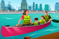 Family Canoeing Together Royalty Free Stock Photo - 68639605