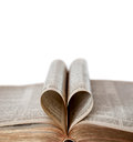 Opened Bible With Heart Shape And Copy Space Stock Images - 68640344