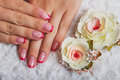 Red French Nail Art With Flower Royalty Free Stock Photography - 68647577