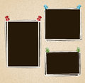Photo Frames Composition With Pushpins On Retro Background Stock Photography - 68648902