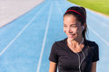 Happy Track Running Girl Runner Listening To Music Stock Image - 68706951