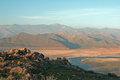 Cirrus Clouds Hovering Above Drought Stricken Lake Isabella In The Southern Range Of California S Sierra Nevada Mountains Royalty Free Stock Photos - 68712388