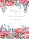 Card Template With The Floral Design; Watercolor Red Peonies, Leaves, Branches And Purple Berries Royalty Free Stock Photo - 68725025