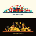 Flat Design Egypt, China Travel Banners Set Royalty Free Stock Images - 68730959
