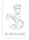 Kid Cartoon Outline Prince Card For Coloring Stock Images - 68736154