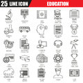 Thin Line Icons Set Of Internet Education And Online Course Study Stock Photography - 68742312