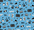 Seamless Pattern. Punk Rock Music  On Blue Background. Doodle Style Elements, Emblems, Badges, Logo And Icons. Royalty Free Stock Photos - 68743338