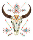 Cow Skull In Tribal Style. Animal Skull With Ethnic Ornament Stock Images - 68757674