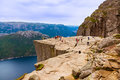 Cliff Preikestolen In Fjord Lysefjord - Norway Royalty Free Stock Images - 68762369