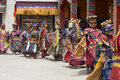 Tibetan Lama Dressed In Mask Dancing Tsam Mystery Dance On Buddhist Festival At Hemis Gompa. Ladakh, North India Royalty Free Stock Photography - 68770177