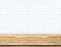 Empty Wood Table And Ceramic Tile Brick Wall In Background. Prod Stock Photos - 68774193