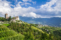 Idyllic Rural Landscape With A Castle And Vineyards. South Tyrol, Italy Royalty Free Stock Photos - 68776138