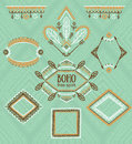 Set Of Ornamental Frames. Vector Indian Collection For BOHO Design. Royalty Free Stock Images - 68782959