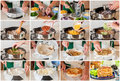 A Step By Step Collage Of Making Chicken And Zucchini Tortilla P Stock Image - 68787811