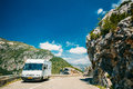 White Colour Hymer Motorhome Car On Background Of French Mountain Stock Photo - 68791670