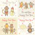 Cute Hand Drawn Doodle Happy New Year Cards Royalty Free Stock Photography - 68799967