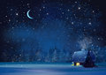 Vector Night Winter Landscape. Royalty Free Stock Image - 68806106