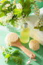 Spa Aromatherapy With Bird Cherry Blossom Essential Oil Brush To Stock Images - 68807834