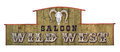 Wild West Wooden Saloon Signboard With Sheep Skull Stock Image - 68817981