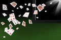 Playing Cards Flying At The Laptop. Online Card Games Concept Royalty Free Stock Images - 68820679