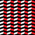 Wavy Zig Zag Seamless Pattern Red, White And Black 3d Royalty Free Stock Image - 68828586