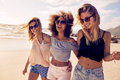 Group Of Beautiful Young Women Strolling On A Beach Royalty Free Stock Images - 68837409