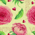 Seamless Pattern With Pink Roses And Lettering Stock Image - 68837691
