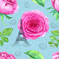 Seamless Pattern With Roses And Eiffel Tower Royalty Free Stock Photography - 68837967