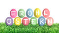 Easter Eggs Frohe Ostern Happy Easter. Colorful Decoration Royalty Free Stock Photo - 68838545