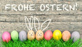 Easter Eggs Cute Bunny. Frohe Ostern Happy Easter German Royalty Free Stock Photography - 68842427