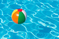 Colorful Beach Ball Floating In Pool Stock Photography - 68853962