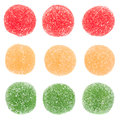 Candied Round Fruit Jelly On White Stock Photos - 68858513