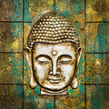 Head Of Buddha Carved In A Wooden Door. Royalty Free Stock Images - 68884209