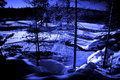 Moon Night In Forest Lake With Water Torrent Stock Photos - 6895423
