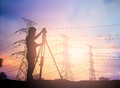 Silhouette Survey Engineer Working  In A Building Site Over Blur Stock Images - 68903724